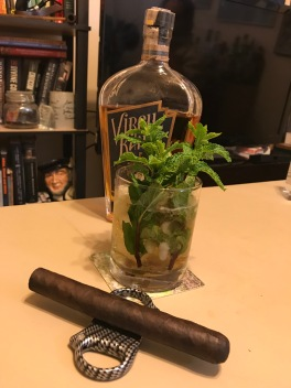 Virgil Kaine Ginger Bourbon Mint Julep and a hard to find LFD Cabinet 5 from the good folks at Top Leaf Cigar Lounge